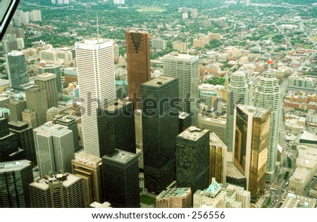 Panoramic view from the CN Tower, Toronto. - stock photo