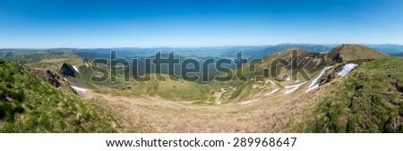 Panoramic view from the highest peak of Svydovets range - Big Blysnyzi. Carpathians, West Ukraine. - stock photo