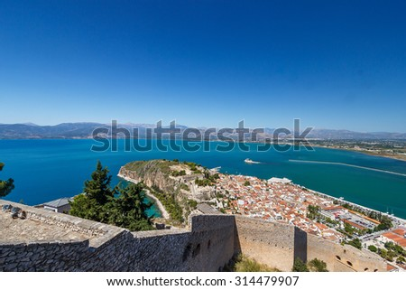 Panoramic view from the historic Palamidi Fortress in Nafplion, Argolis - Greece - stock photo