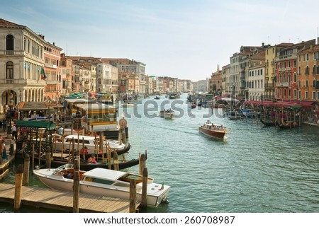 Panoramic view in the morning with backlighting of Canal Grande in Venice, Italy July 5, 2014 in Venice, Italy, only for editorial - stock photo