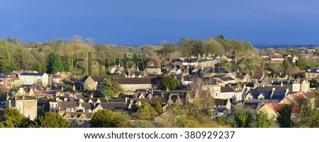 Panoramic View of a Picturesque English Town Seen from a High Vantage Point - Namely the Historic Bradford on Avon in Wiltshire England - stock photo