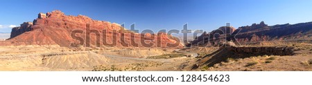 Panoramic view of a roadway through Nevada in the Valley of Fire area - stock photo