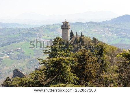 Panoramic view of a small tower Montale from the fortress Guaita - stock photo