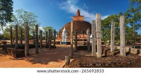 Panoramic view of Abayagiri Dagoba in UNESCO, Anuradhapura, Srilanka, Asia - stock photo
