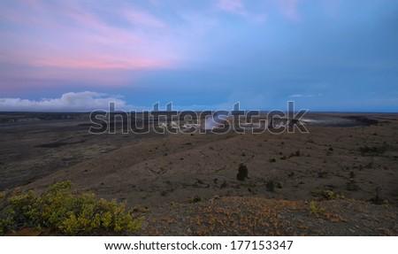 Panoramic view of active Kilauea volcano crater at night, Hawaii Volcanoes National Park, Big Island - stock photo