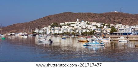 Panoramic view of Adamantas village, Milos island, Cyclades, Greece - stock photo