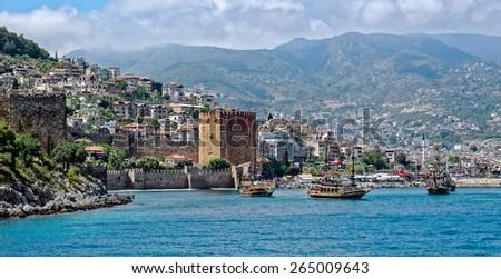 Panoramic view of Alanya, Turkey, from seaside - stock photo