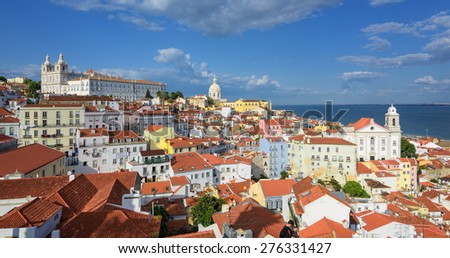 Panoramic view of Alfama quarter, Lisbon, Portugal - stock photo