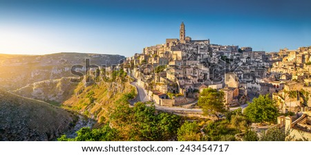 Panoramic view of ancient town of Matera (Sassi di Matera) at sunrise, Basilicata, southern Italy - stock photo