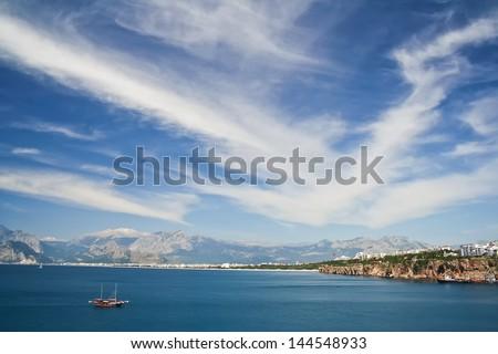 Panoramic view of Antalya bay in Turkey - stock photo
