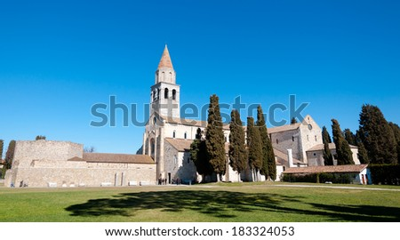 Panoramic view of Aquileia Basilica in Italy - stock photo