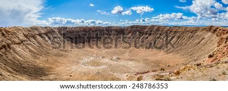 Panoramic view of Arizona Meteor Crater, USA - stock photo