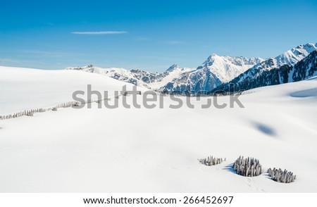 Panoramic view of Austrian Alps, Mayrhofen ski resort - stock photo