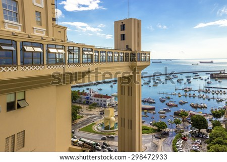 Panoramic view of Bahia de Todos os Santos in Salvador, Bahia, Brazil with the historic architecture of Elevador Lacerda on a sunny summer day. - stock photo