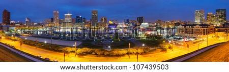 Panoramic view of Baltimore at night - stock photo