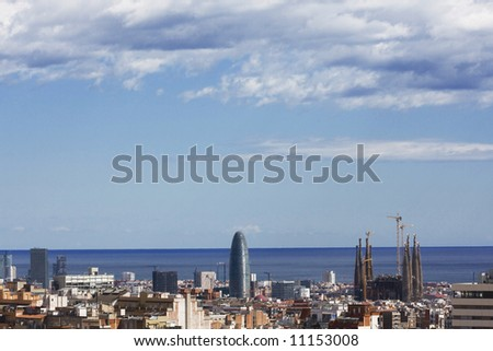Panoramic view of barcelona3 - stock photo