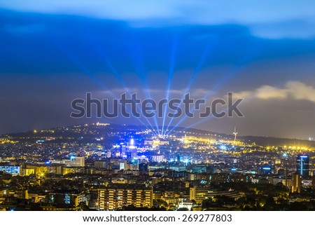 Panoramic view of Barcelona from Park Guell in a summer evening in Spain - stock photo