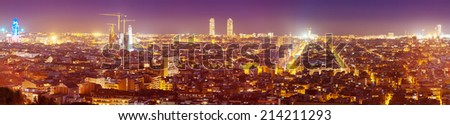 panoramic view of Barcelona in evening. Catalonia, Spain - stock photo