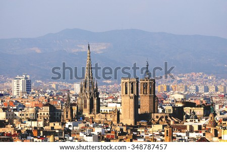 Panoramic view of Barcelona - old town. Toned picture - stock photo