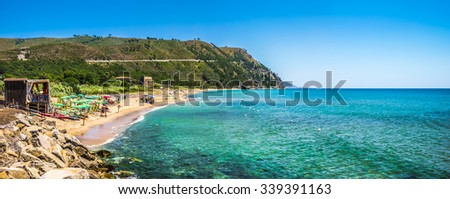 Panoramic view of beautiful coastal landscape at the Cilentan Coast in Ogliastro Marina, province of Salerno, Campania, southern Italy - stock photo