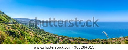 Panoramic view of beautiful coastal landscape at the Cilentan Coast on Capo Palinuro, province of Salerno, Campania, southern Italy - stock photo