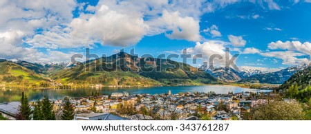 Panoramic view of beautiful mountain landscape in the Alps with Zeller Lake in Zell am See, Salzburger Land, Austria - stock photo
