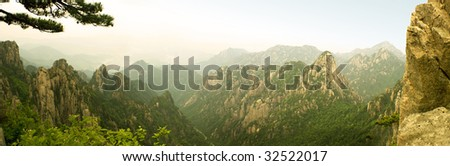 panoramic view of beihai on top of famous huangshan mountain in china - stock photo
