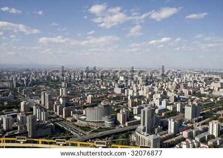 panoramic view of beijing china - stock photo