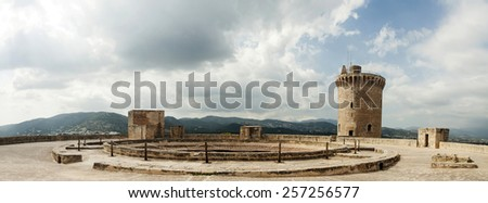 Panoramic view of Bellver Castle fortress in Palma de Mallorca, Spain - stock photo