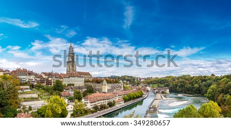 Panoramic view of Bern and Berner Munster cathedral in Switzerland - stock photo