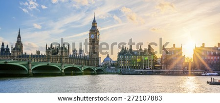 Panoramic view of Big Ben clock tower in London at sunset, UK. - stock photo