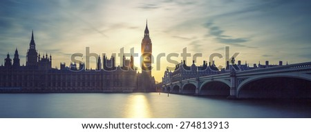 Panoramic view of Big Ben clock tower in London at sunset, UK. Special photographic processing. - stock photo
