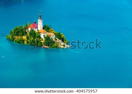 Panoramic view of Bled Lake, Slovenia, Europe - stock photo