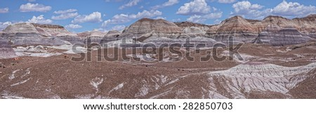 Panoramic View Of Blue Mesa At The Petrified Forest National Park - stock photo