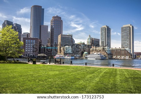 Panoramic view of Boston Harbor and Financial District in Massachusetts, USA in the summer season.  - stock photo