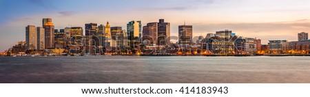 Panoramic view of Boston in Massachusetts, USA at sunset. - stock photo