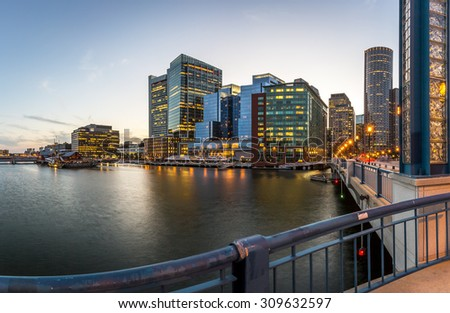 Panoramic view of Boston in Massachusetts, USA showcasing its mix of modern and historic architecture at Back Bay at sunset. - stock photo