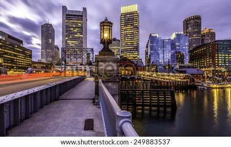 Panoramic view of Boston in Massachusetts, USA showcasing the architecture of its Financial District at Back  Bay at sunset. - stock photo