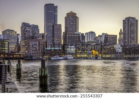 Panoramic view of Boston in Massachusetts, USA showcasing the architecture of its Financial District at Back Bay in the sunset. - stock photo