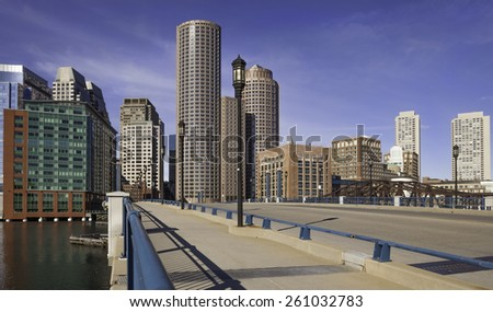 Panoramic view of Boston in Massachusetts, USA showcasing the architecture of its Financial District on a sunny summer day. - stock photo