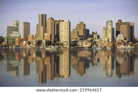 Panoramic view of Boston in Massachusetts, USA showcasing the Financial District and Boston Harbor. - stock photo