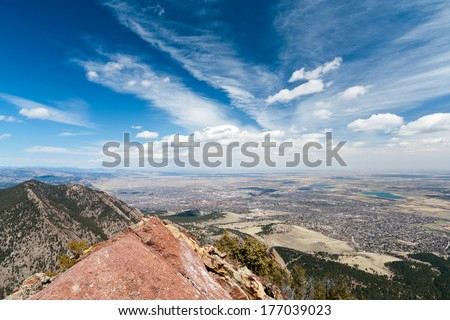 Panoramic view of Boulder, Colorado from the top of a Mountain - stock photo