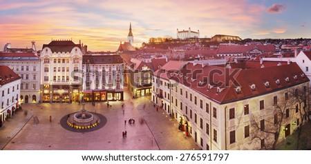 Panoramic view of Bratislava with sunset - stock photo