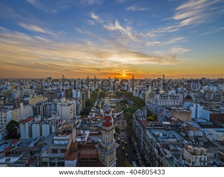 Panoramic view of Buenos Aires at dusk - stock photo