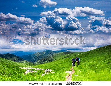 Panoramic view of Carpathians - summer meadow in mountains - stock photo