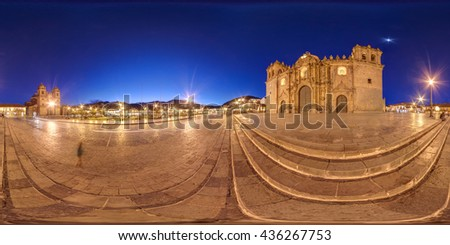 PANORAMIC 360 VIEW OF CATHEDRAL OF CUSCO AND MAIN SQUARE. CUZCO, PERU. - stock photo