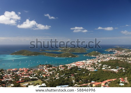 Panoramic view of Charlotte Amalie on Saint Thomas, US Virgin Islands - stock photo