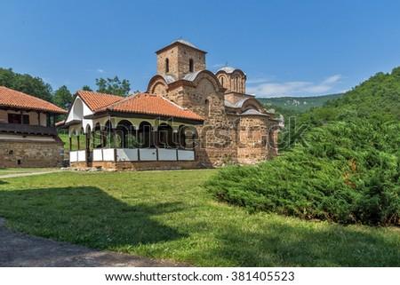 Panoramic view of church in Poganovo Monastery of St. John the Theologian, Serbia - stock photo