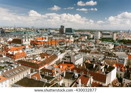 Panoramic view of city center Vienna, Austria - stock photo