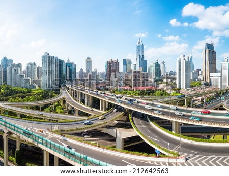 panoramic view of city elevated overpass in shanghai   - stock photo
